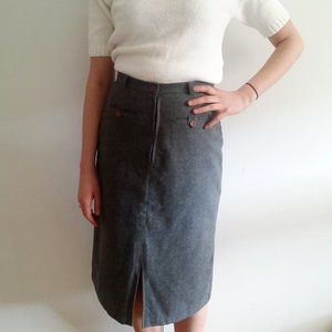 1970's Charcoal Grey Pencil Midi Skirt